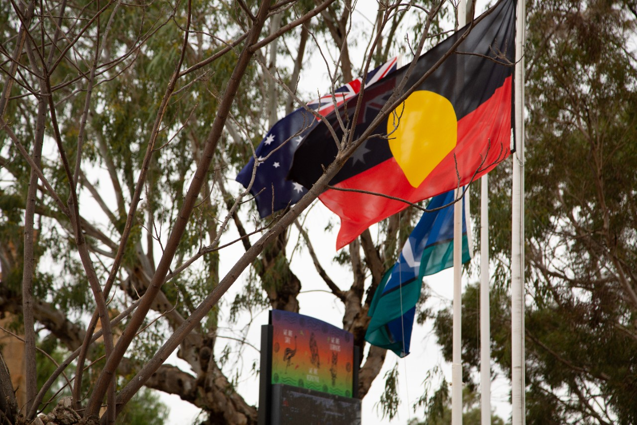 Aboriginal flag flying at from of school